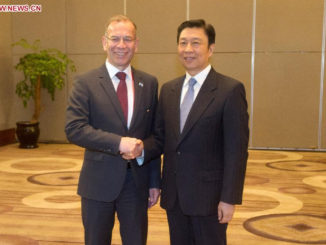 Chinese Vice President Li Yuanchao (R) meets with the President of the Council of States of Switzerland's Federal Assembly Hannes Germann, who came to China to attend the Eco Forum Global Annual Conference 2014, in Guiyang, capital of southwest China's Guizhou Province, July 10, 2014. (Xinhua/Ou Dongqu)