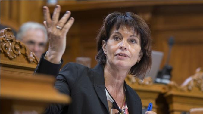 """Bundesrätin Doris Leuthard bedankt sich für die Diskussion im Ständerat, die """"animierter als in der Kommission"""" war. Bild Key"""