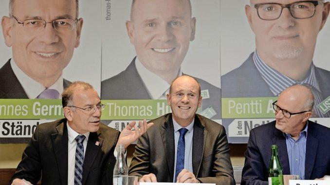 Die drei SVP-Anwärter: Hannes Germann (Ständerat, bisher), Thomas Hurter (Nationalrat, bisher) und Pentti Aellig (Nationalratskandidat). Bild Selwyn Hoffmann