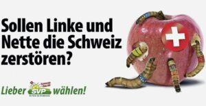 SVP-Wahlkampf 2019: Der Schweizer Apfel wird von Würmern diverser Couleur angegriffen. Mit diesem Motiv sorgt die Volkspartei innerhalb und ausserhalb der eigenen Reihen derzeit für viel Empörung. BILD ZVG